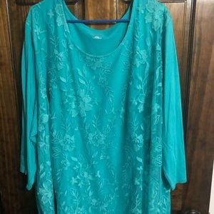 Catherine's NWT Teal Floral Lace Top 5X